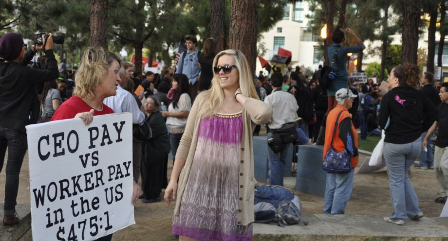 Woman at Occupy San Diego protest in 2011